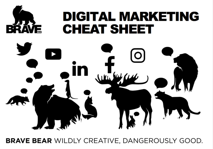 Digital Marketing Cheat Sheet. Brave Bear illustration of woodland and animals.